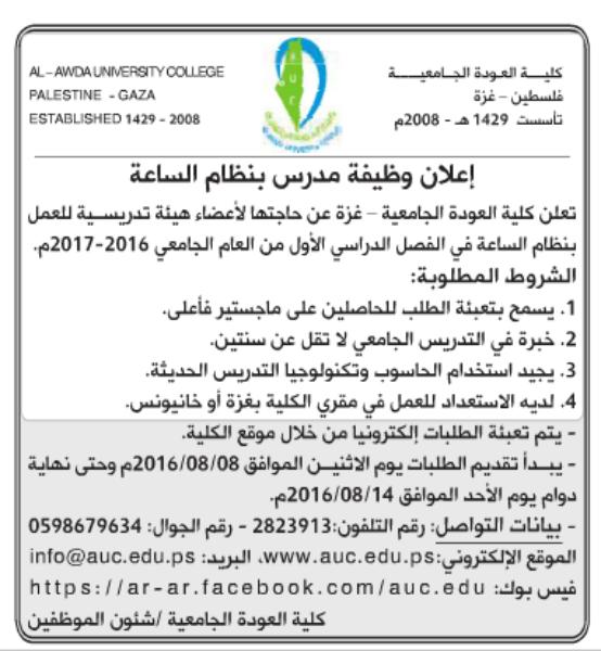 الوطن اليوم - أعضاء هيئة تدريسية / كلية العودة الجامعية - غزة