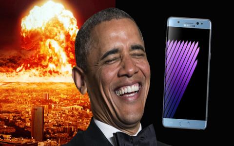 """شاهد بالفيديو كيف سخر أوباما من """"نوت 7"""""""