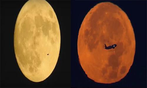 فيديو - مشاهد مذهلة لطائرات تخترق القمر العملاق