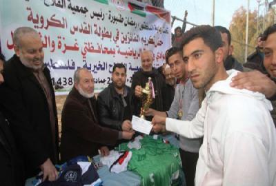 الفلاح يفوز بلقب بطولة كأس القدس الكروية لأندية غزة والشمال