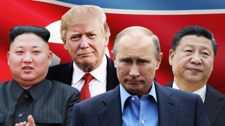 دونالد ترامب وفلاديمير بوتين وكم جونغ أون