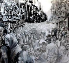 """لوحة """"يوم القيامة"""" لمخيم اليرموك ضمن معرض فني في فيينا"""