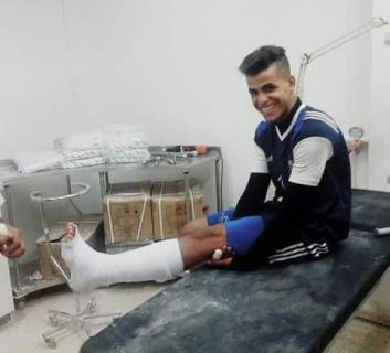 إصابة حارس اتحاد خان يونس النبريص