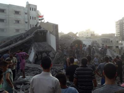 18 اصابة جراء قصف الاحتلال مؤسسة المسحال الثقافية في غزة