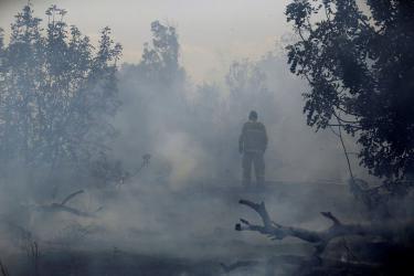 """اندلاع حريق في كيبوتس """"زيمورات"""" شرق قطاع غزة"""