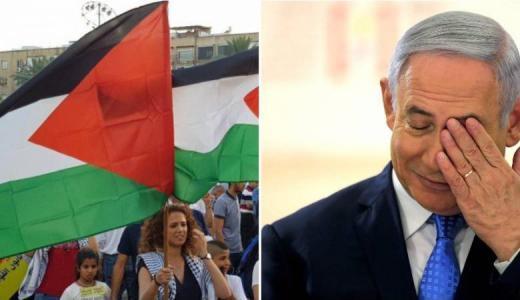 نتنياهو ينفجر غضبا بعد رفع العلم الفلسطيني وسط تل أبيب