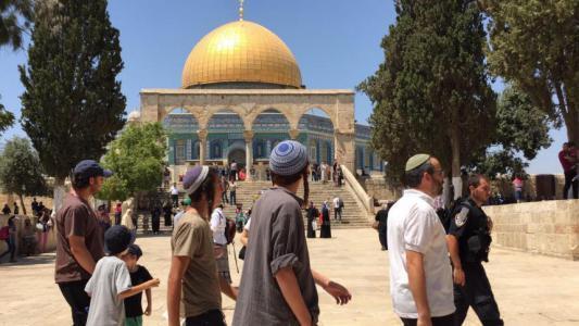 مستوطنون يقتحمون المسجد الاقصى والاحتلال يعتقل اثنين