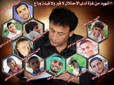 11شهيد من غزة لدى الاحتلال لا قبر ولا قبلة وداع