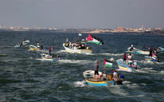 إصابات بقمع الاحتلال لمسير البحري الــ 17 شمال قطاع غزة