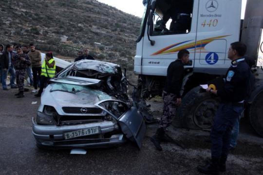 مصرع 125 مواطناً في 12654 حادث طرق بالضفة خلال 2018