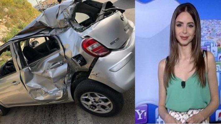 """بالصور.. مذيعة """"الجديد"""" سراة صالحة تنجو بأعجوبة من حادث سير مروع!"""