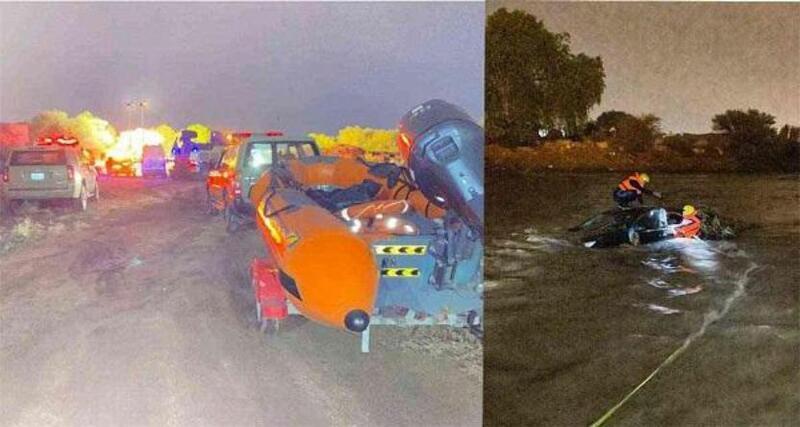 انتشال سعودية من سيارتها بعد غرقها بسبب الأمطار