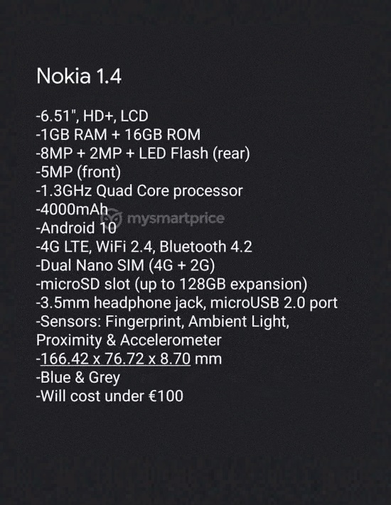 مواصفات هاتف Nokia 1.4