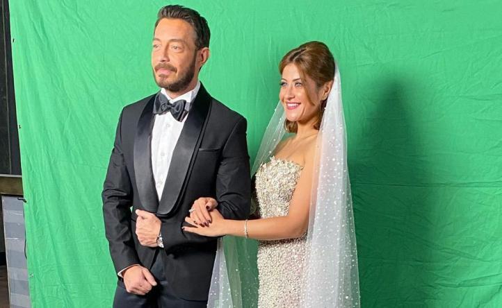 هيدي كرم بفستان الزفاف مع أحمد زاهر من كواليس مسلسل لؤلؤ (صور)