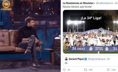 """شاهد.. بيكيه يسخر من فوز ريال مدريد بـ الدوري الإسباني الموسم الماضي: """"الهدايا تحتسب بطولات""""!"""