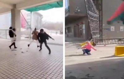شاهد: رياح عاتية تطيح بالمارة في شوارع الصين