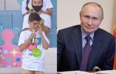 """شاهد رد فعل """"بوتين"""" تجاه طفل أجهش بالبكاء وهو يحيي والديه"""